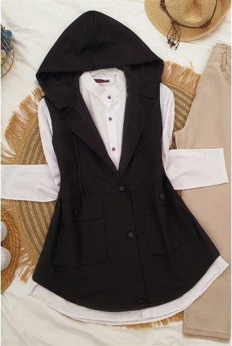 Hooded Torba Pockets Vest -Black