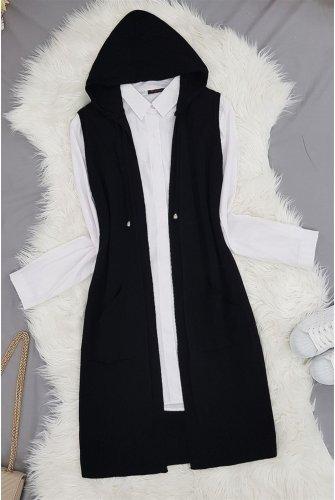 Hooded Knitwear Vest -Black