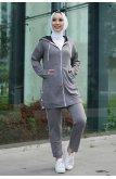 Hooded Yırtmacı Snap Zipped Suit -Smoked