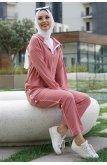 Hooded Yırtmacı Snap Zipped Suit -Rose Kurusu