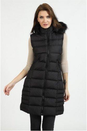 Hood Furry Inflatable Vest -Black