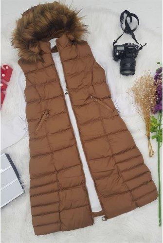 Hood Furry Inflatable Vest  -Taba
