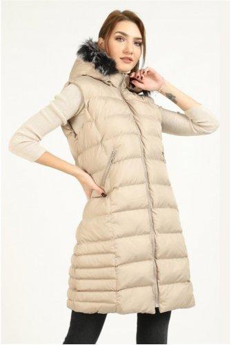 Hood Furry Inflatable Vest -Stone