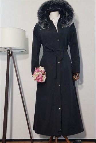 Hood Furry Long Bondit Coat -Black