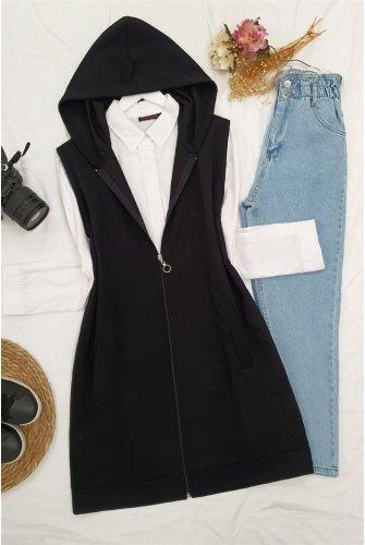 Hooded Zipped Pockets Penye Vest -Black