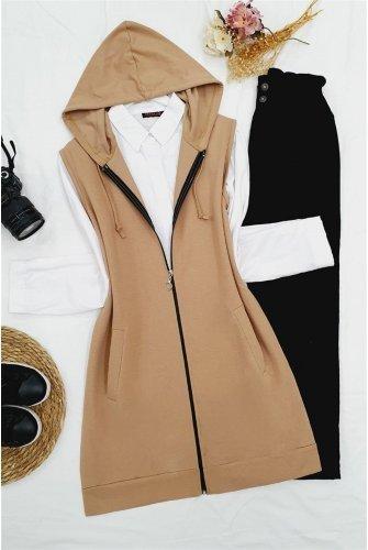Hooded Zipped Pockets Penye Vest -Mink