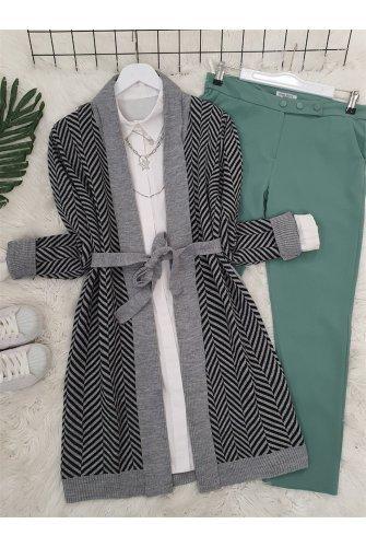 Katlama Collar Zikzak Desen Knitwear Cardigan -Grey