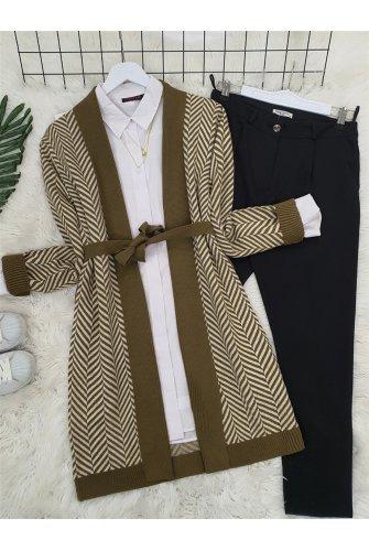 Katlama Collar Zikzak Desen Knitwear Cardigan -Khaki