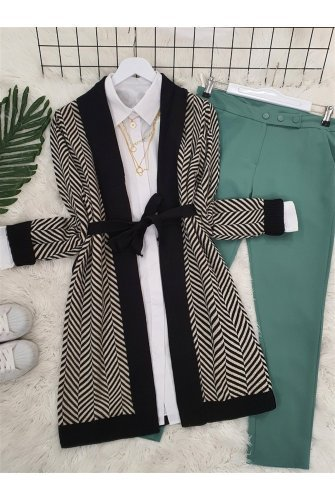 Katlama Collar Zikzak Desen Knitwear Cardigan -Black
