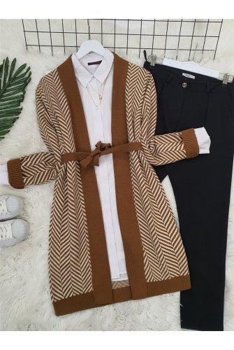 Katlama Collar Zikzak Desen Knitwear Cardigan -Taba