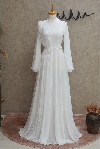 Belt stony Dress -Ekru