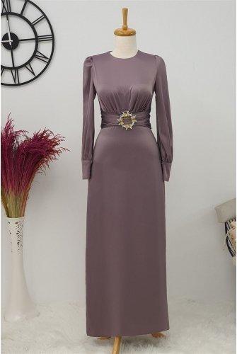 Belt Buckle Dress -Damson