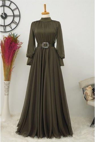 Arched Tulle Dress -Khaki