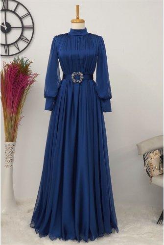 Arched Tulle Dress -İndigo