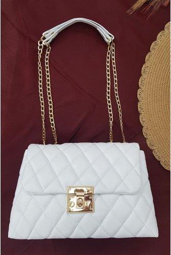 Locked Kapitone Kadın Bag -White