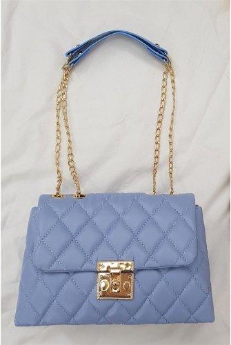 Locked Kapitone Kadın Bag -Blue
