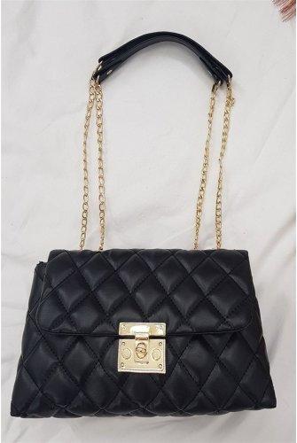 Locked Kapitone Kadın Bag -Black