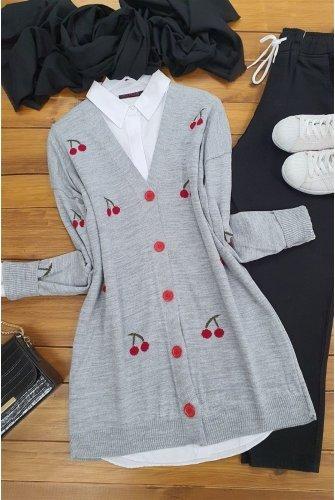 Kiraz Baskılı Knitwear Cardigan  -Grey
