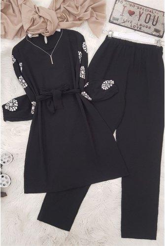 Arm Baskılı Ayrobin Suit -Black