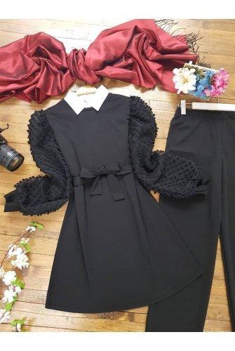 arm Tulle Detailed Suit -Black