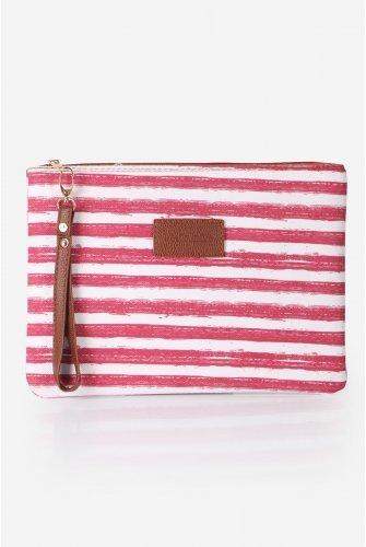 Dark Light Pink Striped El bag