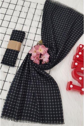 Small Kareli Viscose Wrap -Black