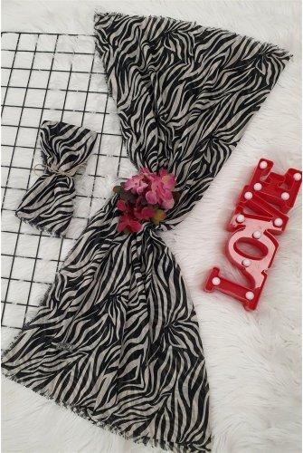 Small Zebra Desen Scarf -Black