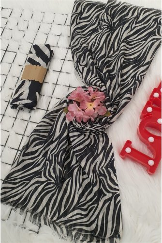 Small Zebra Desen Viscose Wrap -Black