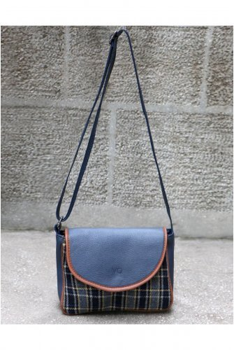 Navy blue Stamping fabric Plaid Kapaklı Cross Bag