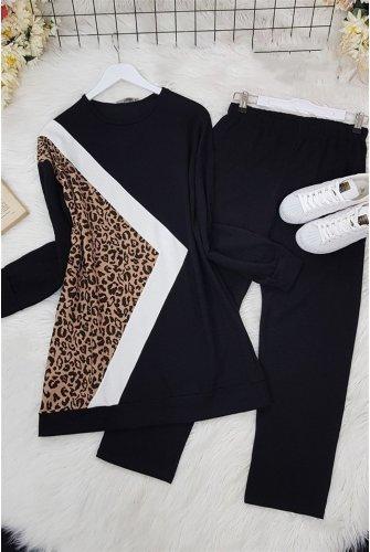 Leopard Detailed Penye Suit -Black