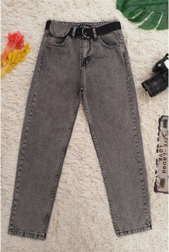 Metal Buckle Arched Snap Detailed Jeans Pants -Smoked