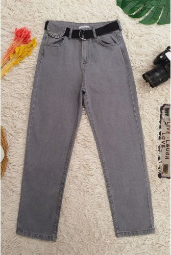 Metal Buckle Arched Snap Detailed Jeans Pants -Grey