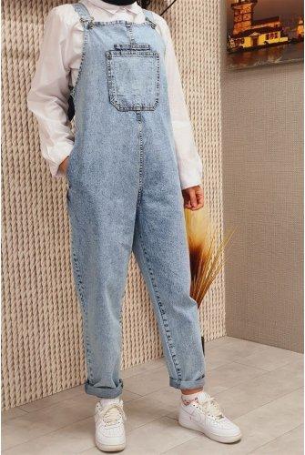 Its Pockets Jeans Overalls -Buz Blue