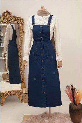 Its Button Detailed Jeans Slopet    -İndigo