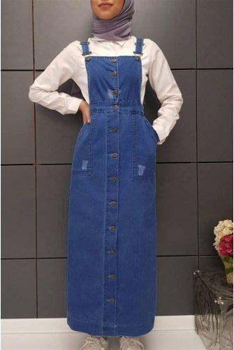Its Button Detailed Jeans Slopet   -Blue