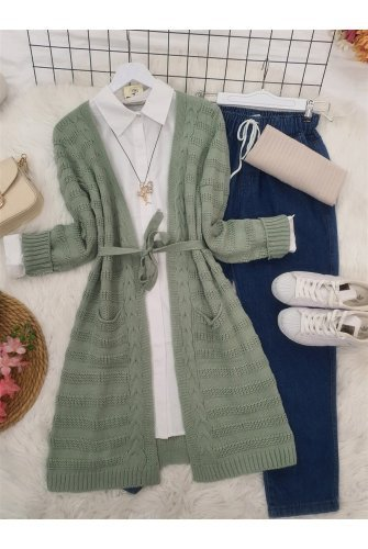 Knitting Desen Arched Double Pockets Knitwear Cardigan -Water green
