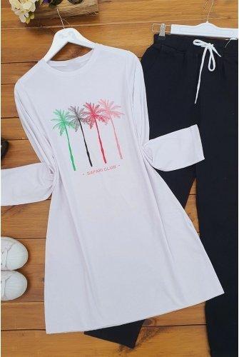 Palmiye Baskılı Tshirt -White