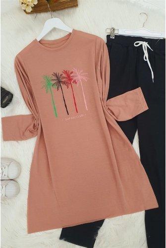 Palmiye Baskılı Tshirt  -Rose Kurusu