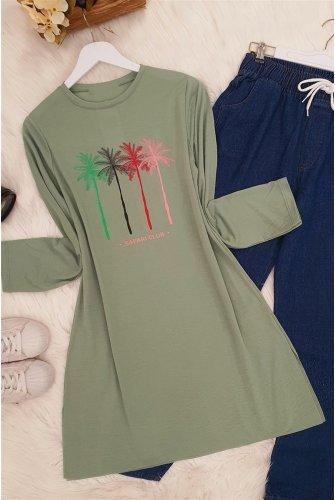Palmiye Baskılı Tshirt  -Green