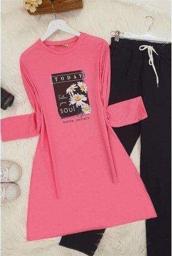 Daisy Baskılı Tshirt  -Hot pink