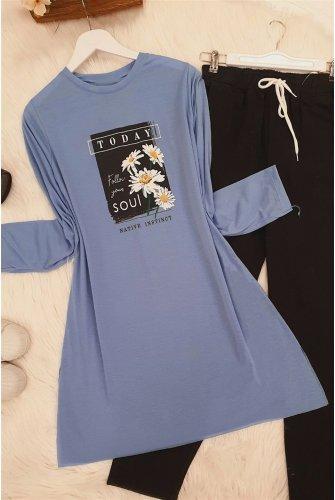 Daisy Baskılı Tshirt -Blue