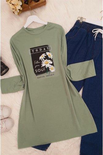 Daisy Baskılı Tshirt  -Green