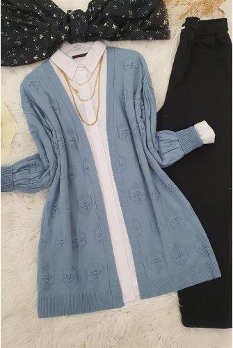 Ponponlu Cardigan   -Blue