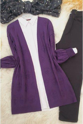 Ponponlu Cardigan   -Purple