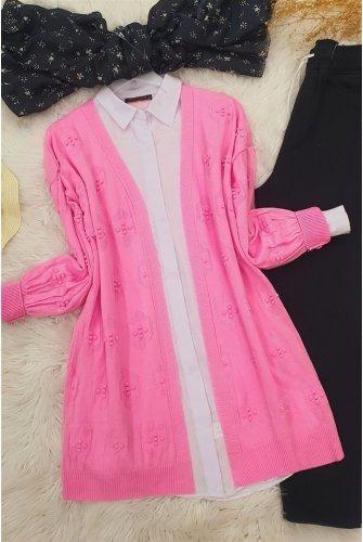 Ponponlu Cardigan   -Pink