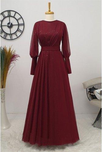 منقط تول فستان -أرجواني داكن