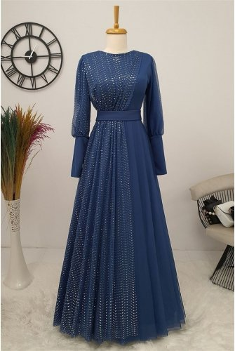 منقط تول فستان -نيلي