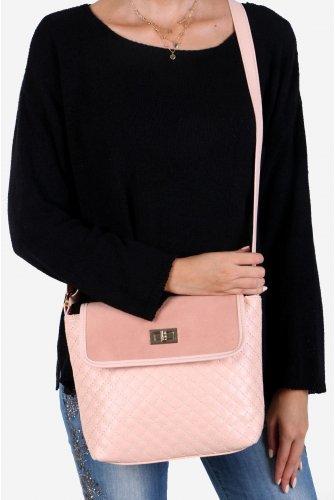 Light Pink Suede Kapaklı Kapitone Cross Bag
