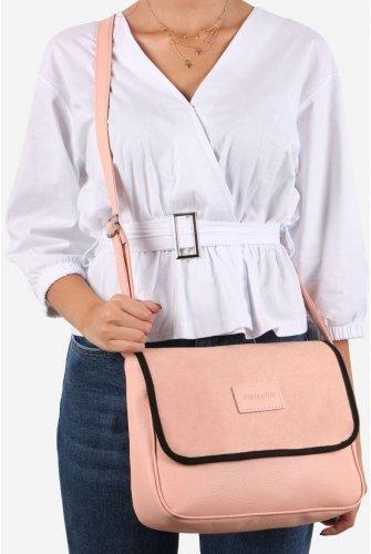 Light Pink Ve Black Suede Kapaklı Spore Cross Bag