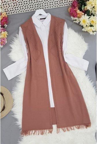 Tasseled Ponponlu Knitwear Vest -Rose Kurusu
